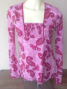 Inc-Paisley-Red-Pink-Top-Blouse-Nylon-Knit-Gathers-CF-Tie-Back-Long-Sleeve-Small