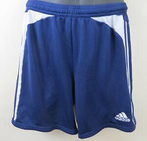 """Adidas Short Bleu Marine Rétro Football Sports 3 Stripe Gym Homme 7 36"""" D7 Large L-afficher Le Titre D'origine"""