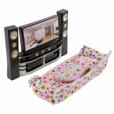 Sofa Cushions Furniture for Barbie Doll House Room Hi-Fi TV Theater Cabinet