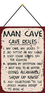 Man-Cave-Rules-Tin-Sign-Shield-with-Cord-Metal-7-7-8x11-13-16in-FA0313-K