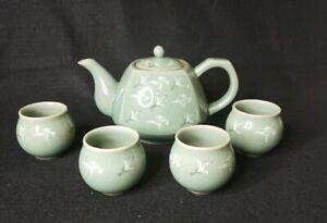 crane /& cloud celadon teapot
