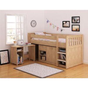 Kids Mid Sleeper Bed Oak Shelving Desk Storage Loft Cabin