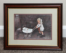ORIGINAL PASTEL PAINTING BY MARC GRIMSHAW NORTHERN ARTIST CHILD 'DADS SHOES'