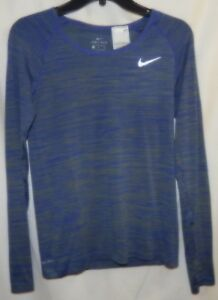 2d03b8d3 Nike Womens Size S Dri-Fit Knit Running Shirt LS Blue 831500-389 NWT ...