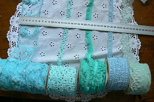 Mixed-Lace-BLUE-TEAL-3-Metre-Lengths-Webster-Polyester-5-Variety-Choice-WB