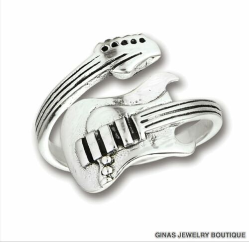 YES GUITAR SPOON RING 6 GRAMS AllGenuine Sterling Silver.925 Size 7 To 12