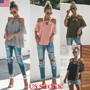 Women-Off-Shoulder-Strappy-Ladies-Casual-Beach-Loose-Summer-Tops-T-Shirt-Blouse