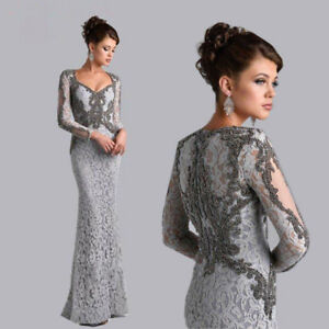 Gray Lace Mermaid Mother of the Bride Dress Long Sleeve Formal Prom Evening Gown