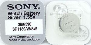 SONY-389-390-SR1130W-SW-1-55V-argent-oxyde-Mercure-GRATUIT-Batterie-Montre