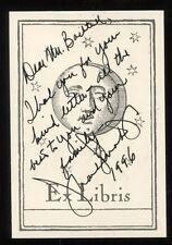 Frank Sinatra Jr.  Signed Book Plate 1992 Autographed Autographed Vintage AUTO