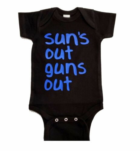Sun/'s out guns out Baby One-Pieces printed in Blue font 21 Jump Street