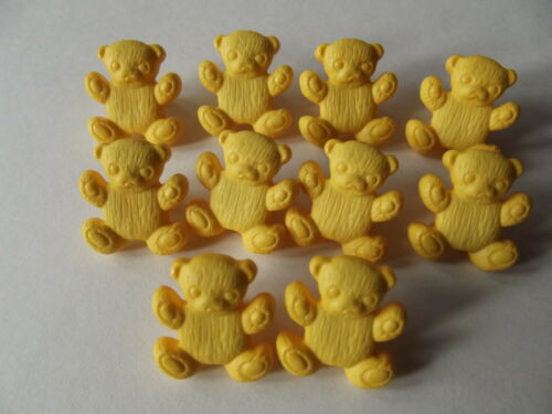 10 x YELLOW TEDDY BEAR SHAPED BUTTONS ~ 26L CRAFT// BABIES Approx 15mm