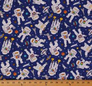 Cotton blast off astronauts space rocket planet fabric for Space fabric by the yard