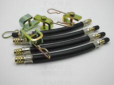 4 x 180mm Flexible Rubber Tyre Valve Extensions With 4 x Clamps Truck Bus Agri