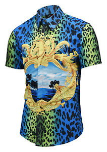 Mens-Luxury-Leopard-Print-Golden-Flower-Baroque-Short-Sleeve-Casual-Shirts-Tops