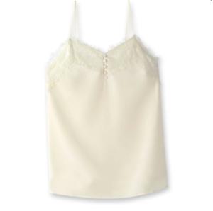 New ivory silk camisole 12, eyelash lace, adjustable straps La Redoute RRP