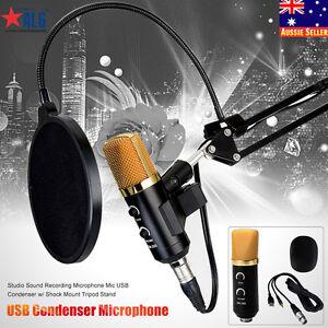USB-Condenser-Studio-Sound-Recording-Microphone-Mic-Shock-Mount-Tripod-Stand