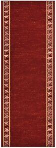 Custom-Size-Red-indoor-Hallway-Runner-Rug-Non-Skid-Slip-Resistant-Meander-26-W