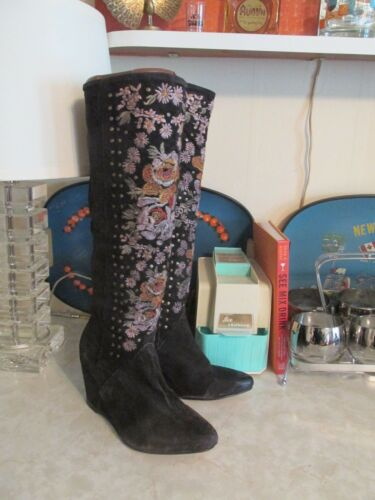 Free People Penny Lane Embroidered Tall Boots Size