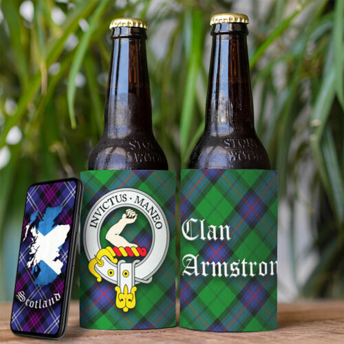Armstrong Clan Drink Cooler Beer Bottle Can Scottish Stubby Holder