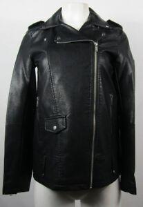 Eloquii Black Faux Leather Jacket Ruffle Sz 14 Feminine Full Zip Women/'s Fitted