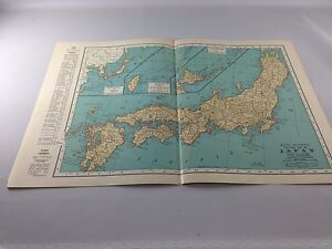 Vintage 1934 rand mcnally map of japantaiwan color ships free image is loading vintage 1934 rand mcnally map of japan taiwan gumiabroncs Gallery