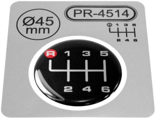 Gear knob Shift Pattern Levier Autocollant 3D bombée POLIMER badge Vitesse 6 45 mm R rouge
