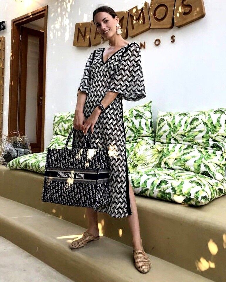 Zara Noir & Ecru Deux Tons Caftan Midi Robe Tricot Taille S