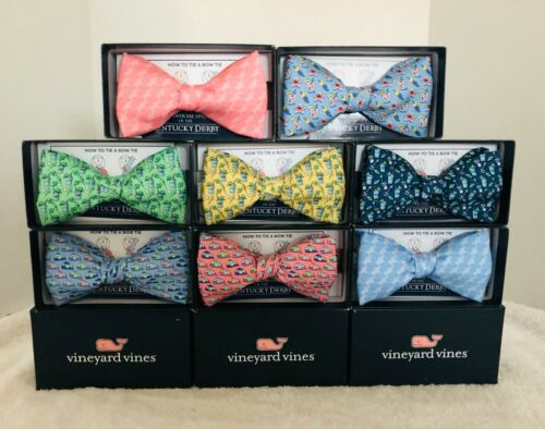 Vineyard Vines Kentucky Derby Bow Tie Belt Pink Blue Green Yellow New in Box