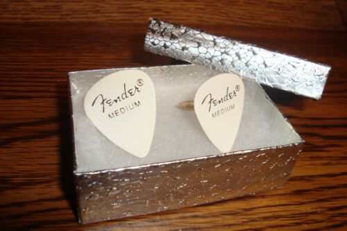 NEW Fender Medium WHITE Guitar Pick Cuff links 1 Pair Gold Plated Two