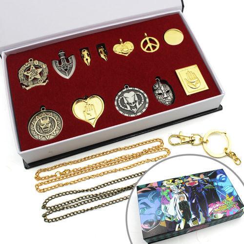 JoJo/'s Bizarre Adventure Necklace+Keychain+Pendant+Box Cosplay Oyaku Gift