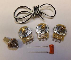jazz bass guitar wiring kit cts 500k pots orange drop 047uf capacitor fender ebay. Black Bedroom Furniture Sets. Home Design Ideas