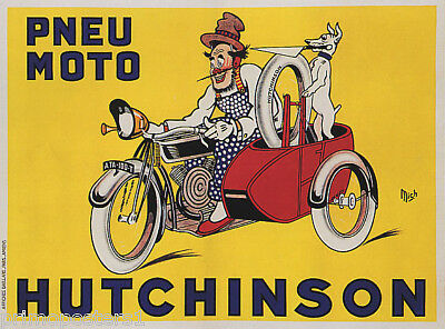 24x32 Pneu Velo Hutchinson 1929 Vintage French Bicycle Poster