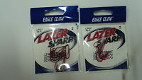 Lazer Sharp Red Hooks, Eagle Claw; Size 2; 2 Packs Of 10; L2rg-2