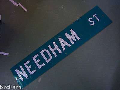 "Vintage ORIGINAL CASIMIR ST STREET SIGN 42/"" X 9/"" WHITE LETTERING ON GREEN"