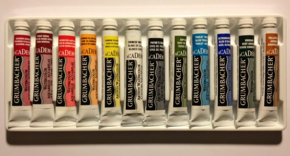 grumbacher academy watercolor paint set of 12 colors j800 ebay