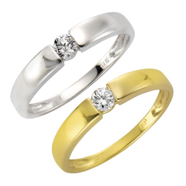 Fascination Ring 375 Gold gelb weiß poliert massiv Zirkonia weiß Damen NEU