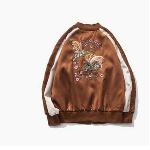 Mode Hommes Manteaux Zipper Eagle Embroidery loose printemps Satin vestes Outwear SZ