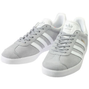 Image is loading Adidas-Gazelle-Womens-BY2852-Mid-Grey-White-Gold-
