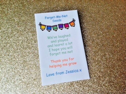 Personalised Teacher Nursery Assistant Forget me not Gift Present Seeds School