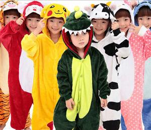 Kid Boy Girl Pajamas Kigurumi Unisex Cosplay Animal Costume Nightwear Halloween