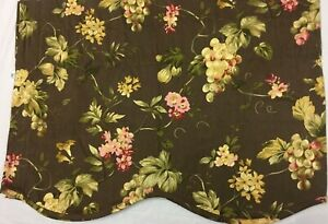 1-Pair-WAVERLY-Valance-French-COUNTRY-Grape-Pink-Floral-BROWN-Rod-Pocket-18x48