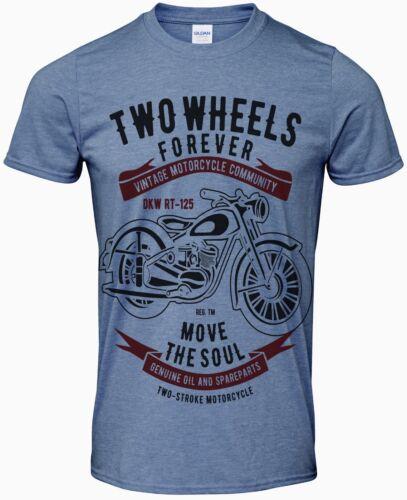 Motard Moto Cafe Racer deux roues Forever Men/'s T Shirt plus couleurs