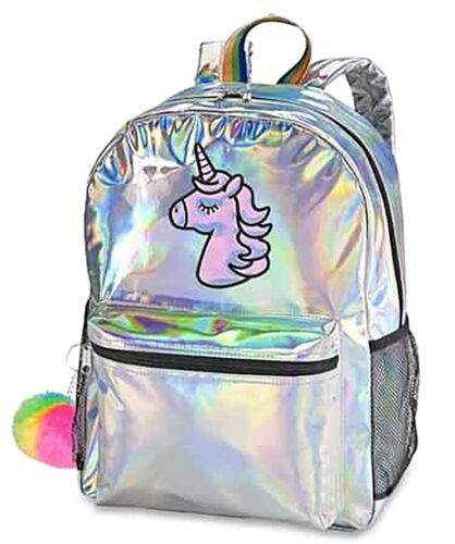 Top Trenz Metallic Backpack for School Travel or Work Pink or Silver Blue
