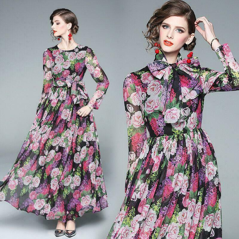 2019 spring womens Floral temperament high waist printing long A-line Maxi Dress