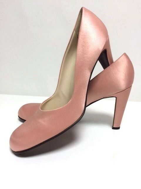 AUTH BOTTEGA VENETA PEACH SATIN PUMPS  HEELS Dimensione 40  10 MADE IN ITALY