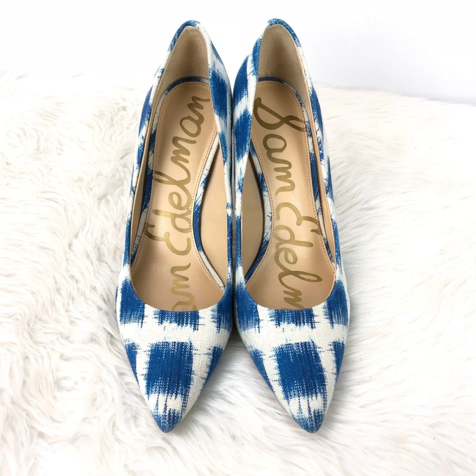 Sam Edelman 9 M damen Blau Blau Blau Weiß Print Canvas Hazel Pointed Toe Heels c7f823