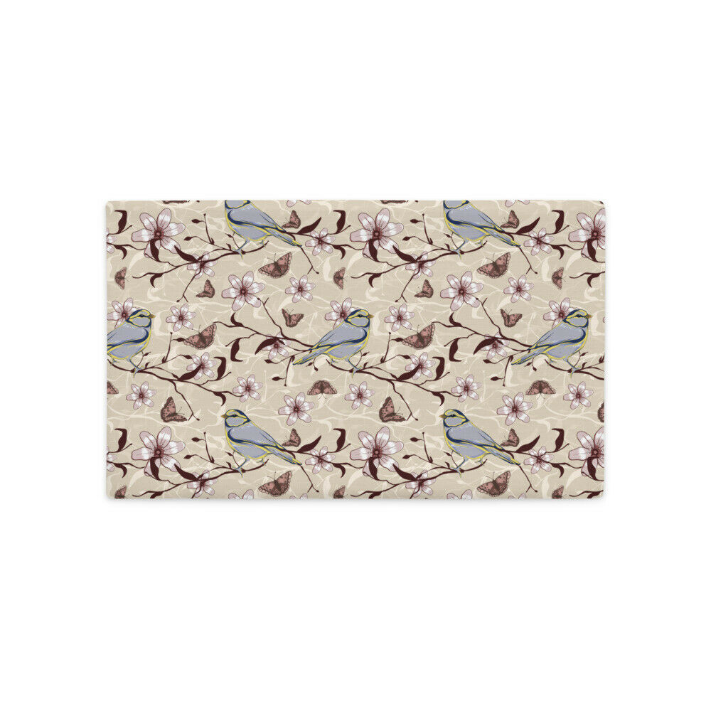 Premium Pillow Case decorated with flowers and birds, shop with prints on demands,mugs,t shirt,pillows