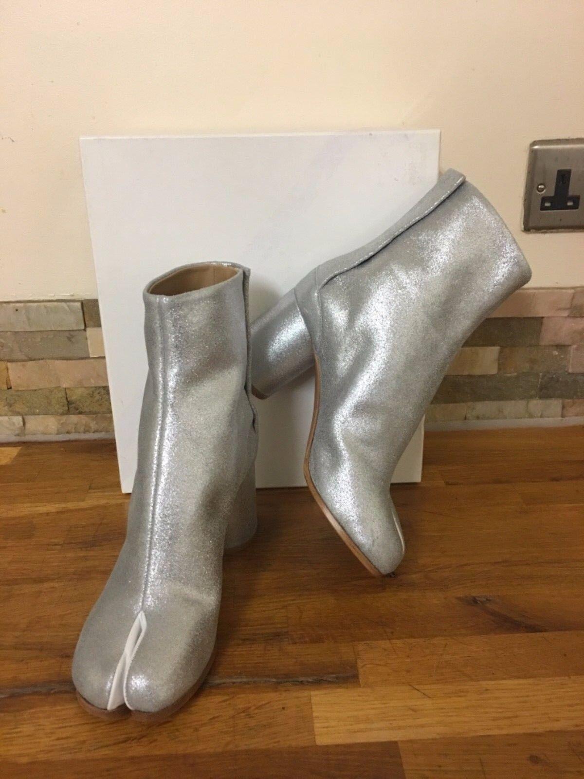 Maison Martin Martin Martin Margiela  Clafskin Leather Silver Tabi Boots Size UK 4 EU 37 66ea69