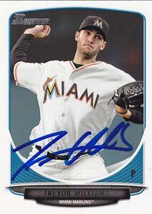 Trevor Williams Signed Autographed 2013 Bowman Baseball Card Miami Marlins